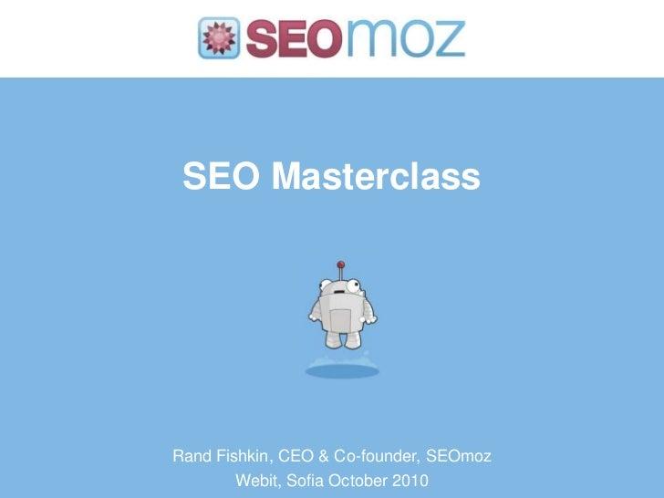 SEO Masterclass Webit 2010