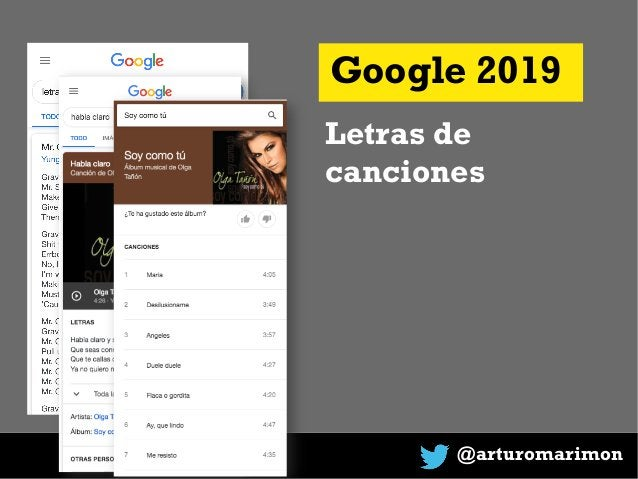 @arturomarimon Google 2019 Letras de canciones