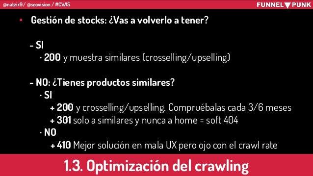 @natzir9 / @seovision / #CW15 1.3. Optimización del crawling • Gestión de stocks: ¿Vas a volverlo a tener? - SI · 200 y mu...