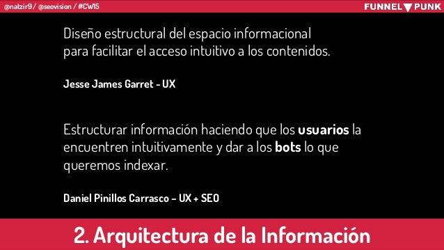 @natzir9 / @seovision / #CW15 2. Arquitectura de la Información Estructurar información haciendo que los usuarios la encue...