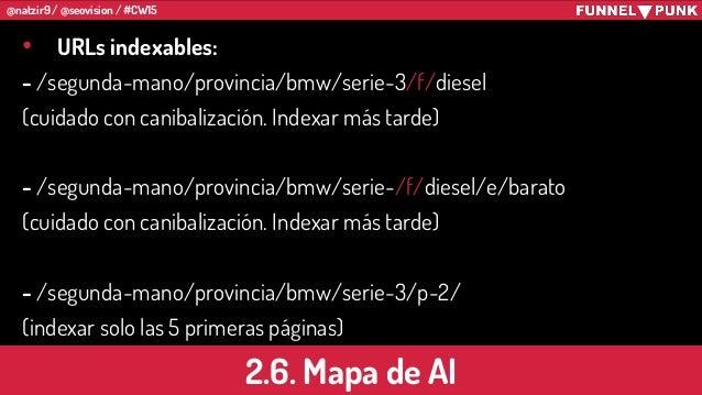 @natzir9 / @seovision / #CW15 2.6. Mapa de AI • URLs indexables: - /segunda-mano/provincia/bmw/serie-3/f/diesel (cuidado c...