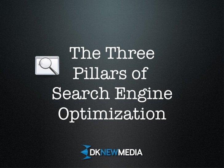 The Three Pillars of  Search Engine Optimization Search Engine Optimization Search Engine Optimization