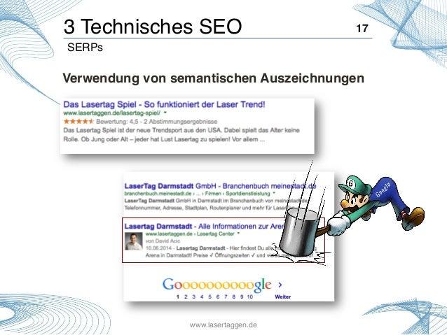 Verwendung von semantischen Auszeichnungen! 17!3 Technisches SEO! SERPs! www.lasertaggen.de!