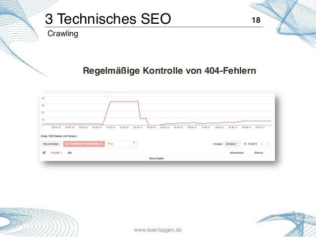 18! Crawling! 3 Technisches SEO! Regelmäßige Kontrolle von 404-Fehlern! www.lasertaggen.de!