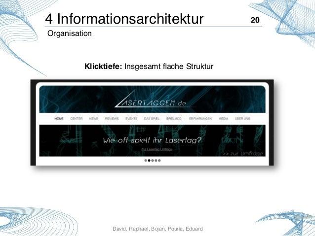 David, Raphael, Bojan, Pouria, Eduard! 20! Klicktiefe: Insgesamt flache Struktur! 4 Informationsarchitektur! Organisation!