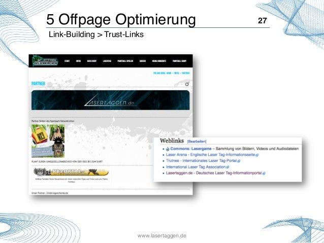27! Link-Building > Trust-Links! 5 Offpage Optimierung! www.lasertaggen.de!