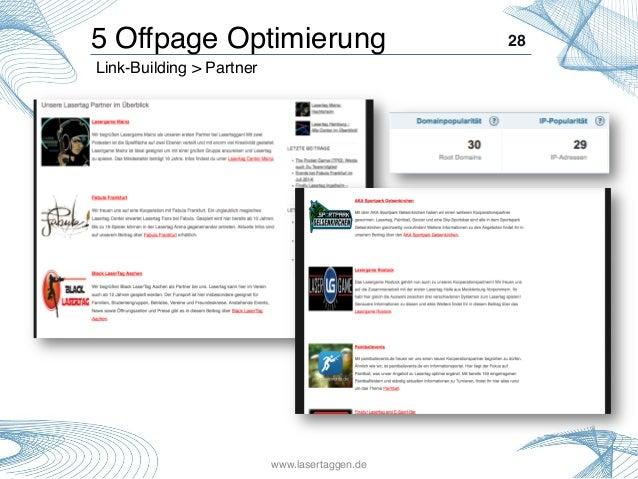 28! Link-Building > Partner ! 5 Offpage Optimierung! www.lasertaggen.de!