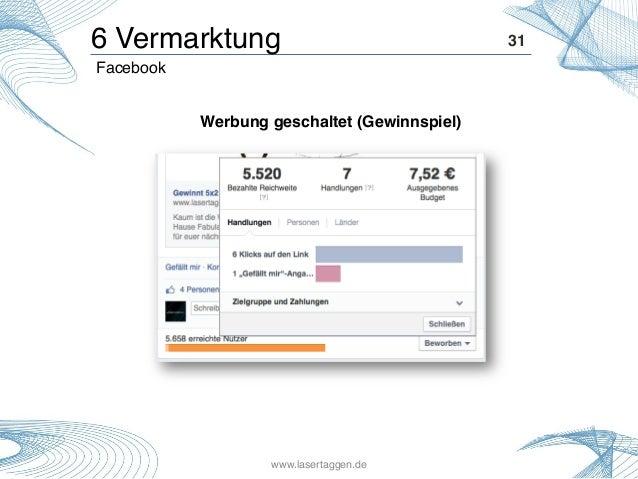 31! Werbung geschaltet (Gewinnspiel)! Facebook! 6 Vermarktung! www.lasertaggen.de!
