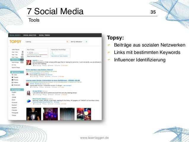 35! Topsy: ! !  Beiträge aus sozialen Netzwerken! !  Links mit bestimmten Keywords! ! Influencer Identifizierung! Tools! 7...
