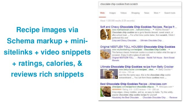 Recipe images via Schema markup + mini- sitelinks + video snippets + ratings, calories, & reviews rich snippets