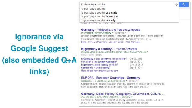 Ignorance via Google Suggest (also embedded Q+A links)