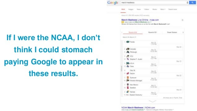 If I were the NCAA, I don't think I could stomach paying Google to appear in these results.