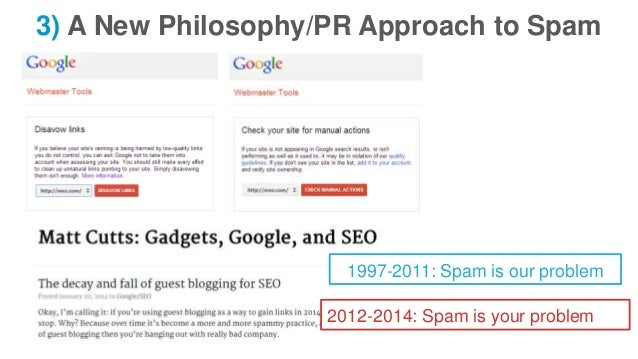 3) A New Philosophy/PR Approach to Spam 1997-2011: Spam is our problem 2012-2014: Spam is your problem