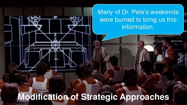 Modification of Strategic Approaches Many of Dr. Pete's weekends were burned to bring us this information.