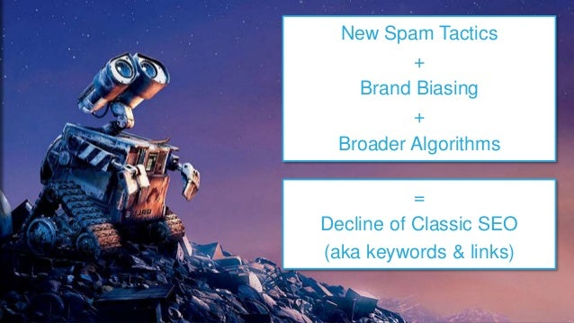 New Spam Tactics + Brand Biasing + Broader Algorithms = Decline of Classic SEO (aka keywords & links)