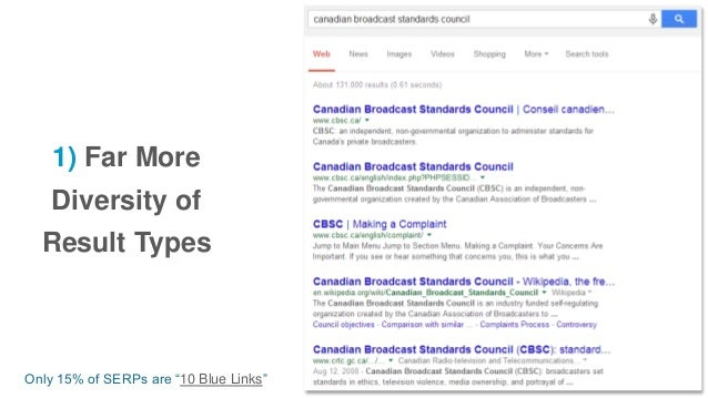 "1) Far More Diversity of Result Types Only 15% of SERPs are ""10 Blue Links"""