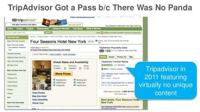 TripAdvisor Got a Pass b/c There Was No Panda Tripadvisor in 2011 featuring virtually no unique content