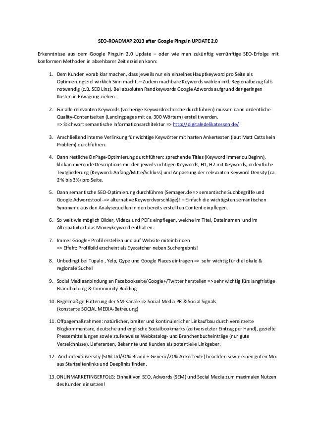 SEO-ROADMAP 2013 after Google Pinguin UPDATE 2.0 Erkenntnisse aus dem Google Pinguin 2.0 Update – oder wie man zukünftig v...