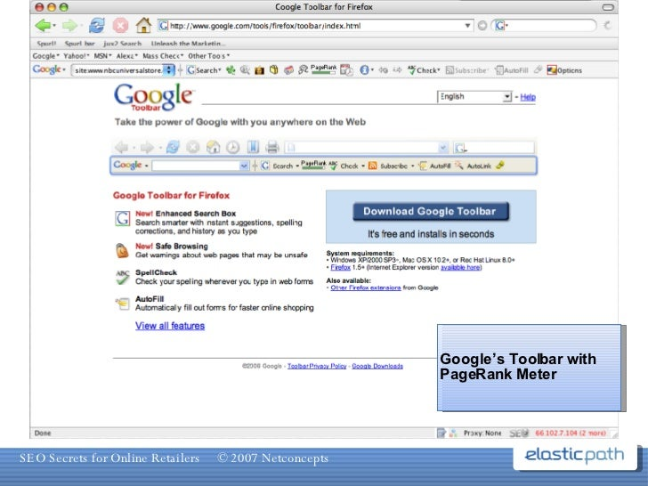 Google's Toolbar with PageRank Meter