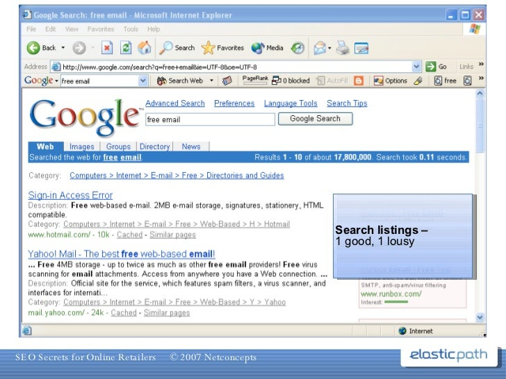 Search listings – 1 good, 1 lousy