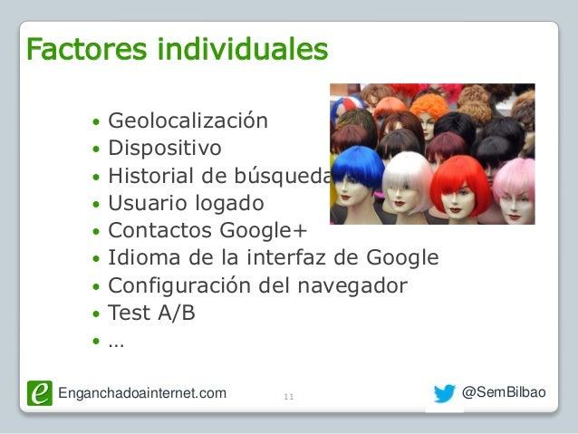 Enganchadoainternet.com @SemBilbao  Geolocalización  Dispositivo  Historial de búsqueda  Usuario logado  Contactos Go...