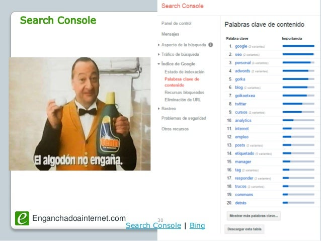 Enganchadoainternet.com @SemBilbao30 Search Console   Bing Search Console