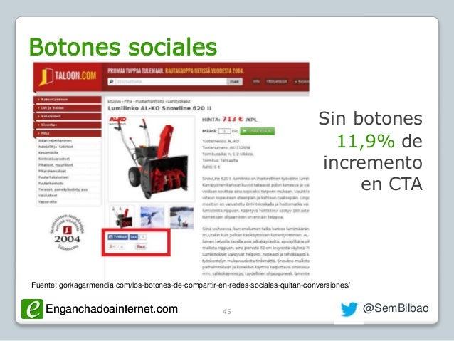 Enganchadoainternet.com @SemBilbaoEnganchadoainternet.com Botones sociales 45 Sin botones 11,9% de incremento en CTA Fuent...
