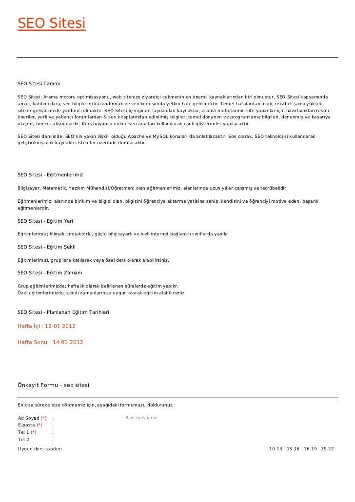 SEO SitesiSEO Sitesi TanımıSEO Sitesi: Arama motoru optimizasyonu, web sitenize ziyaretçi çekmenin en önemli kaynaklarında...