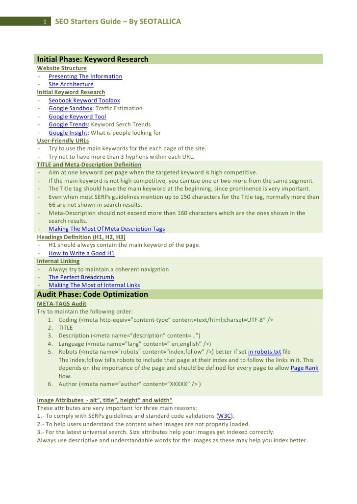 1    SEO Starters Guide – By SEOTALLICAInitial Phase: Keyword ResearchWebsite Structure - Presenting The Information - Sit...