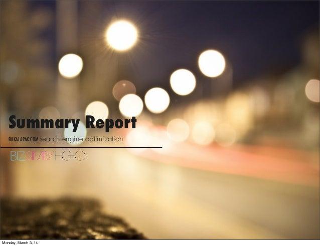 Summary Report BUKALAPAK.COM search  Monday, March 3, 14  engine optimization