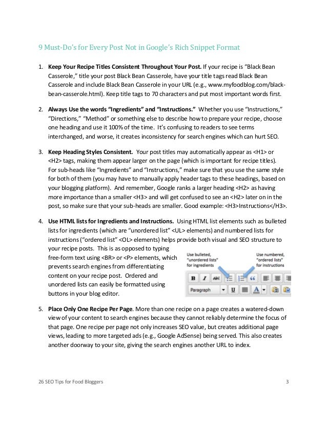 Seo tips for food bloggers Slide 3