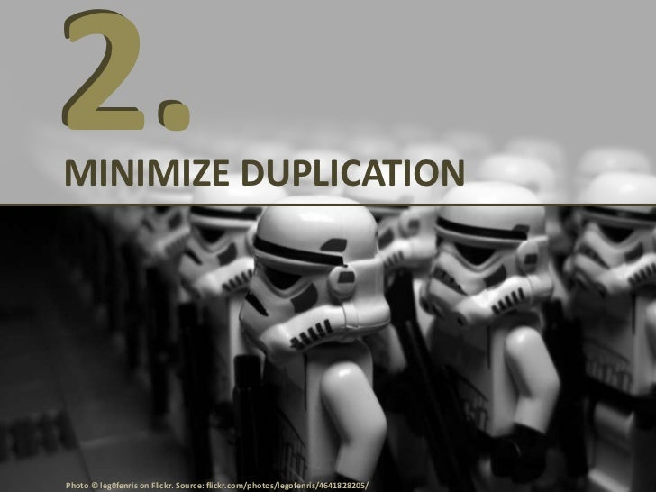MINIMIZE DUPLICATIONFOCUS: Rank higher and increase traffic• Duplicate content = the same content at two  different URLs• ...