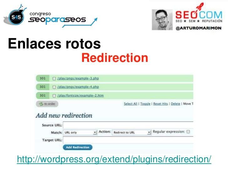 Enlaces rotos                Redirection http://wordpress.org/extend/plugins/redirection/