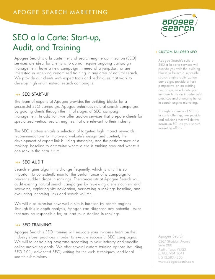 APOGEE SEARCH MARKETING    SEO a la Carte: Start-up, Audit, and Training                                                  ...