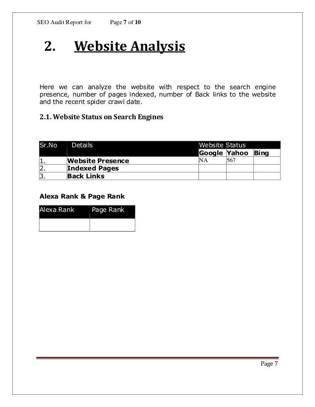 Seo Analysis Report Template (1)