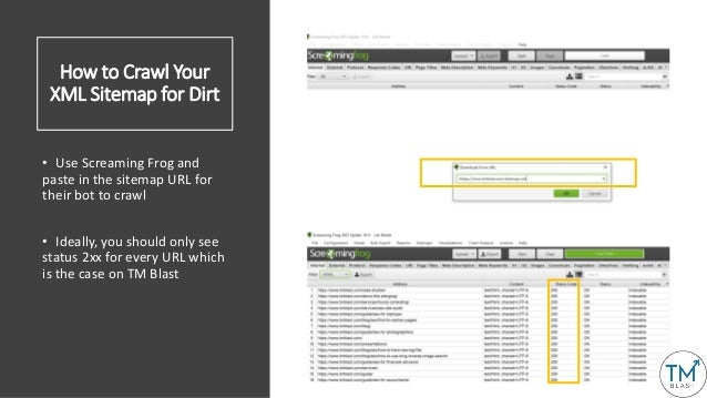 How to Crawl Your XML Sitemap for Dirt • Use Screaming Frog and paste in the sitemap URL for their bot to crawl • Ideally,...