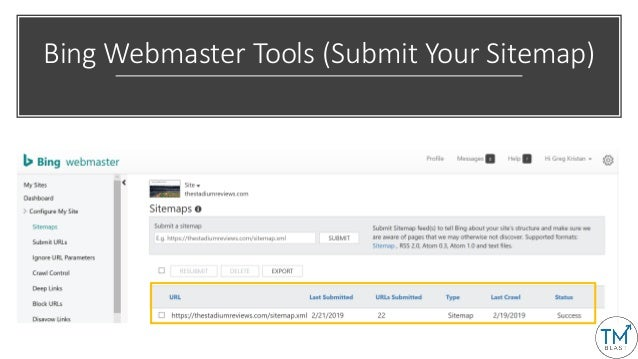 Bing Webmaster Tools (Submit Your Sitemap)