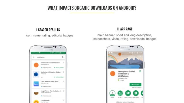 WHAT IMPACTS ORGANIC DOWNLOADS ON ANDROID? main banner, short and long description, screenshots, video, rating, downloads,...