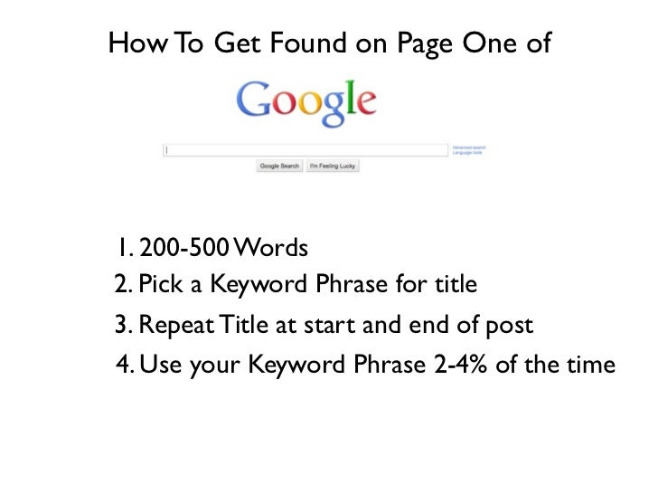 How To Get Found on Page One of1. 200-500 Words2. Pick a Keyword Phrase for title3. Repeat Title at start and end of post4...