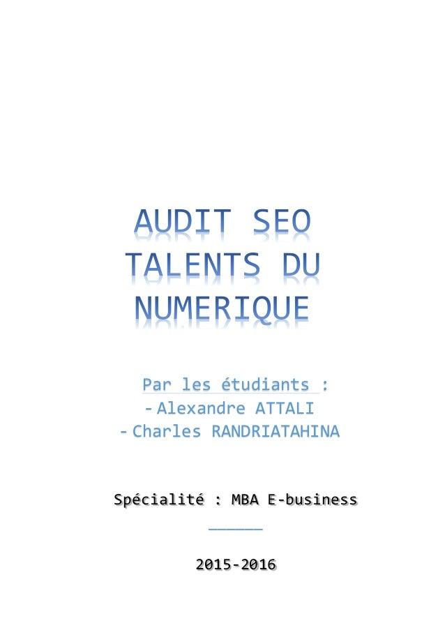 Parlesétudiants: - AlexandreATTALI - CharlesRANDRIATAHINA   Spécialité:MBAE-business ______  2015-2016