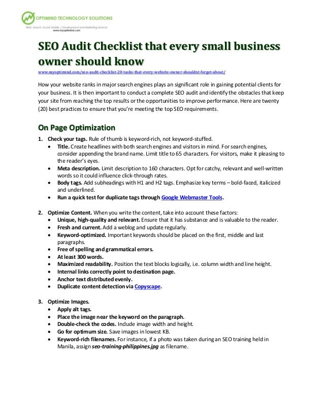 SEO Audit Checklist that every small businessowner should knowwww.myoptimind.com/seo-audit-checklist-20-tasks-that-every-w...