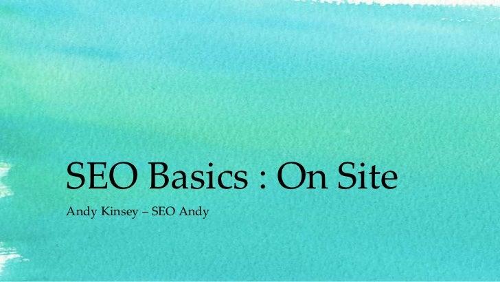 SEO Basics : On SiteAndy Kinsey – SEO Andy