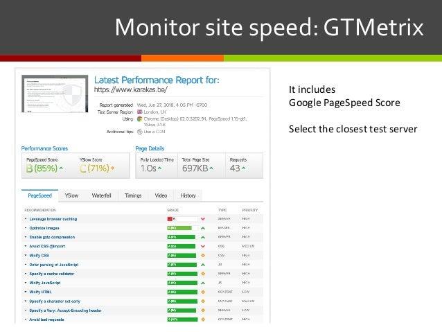 Monitorsitespeed:GTMetrix It includes Google PageSpeed Score Select the closest test server