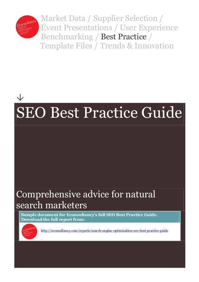 Market Data / Supplier Selection / Event Presentations / User Experience Benchmarking / Best Practice / Template Files / T...