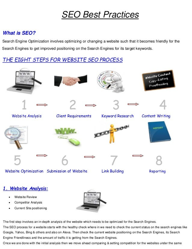 SEO Best Practices What is SEO? Search Engine Optimization involves optimizing or changing a website such that it becomes ...