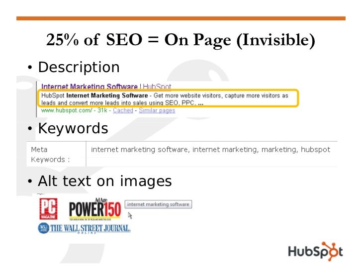 25% of SEO = On Page (Invisible) • Description    • Keywords   • Alt text on images