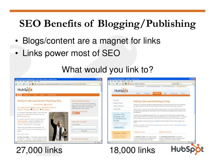 SEO Benefits of Blogging/Publishing • Blogs/content are a magnet for links • Links power most of SEO         po er        ...