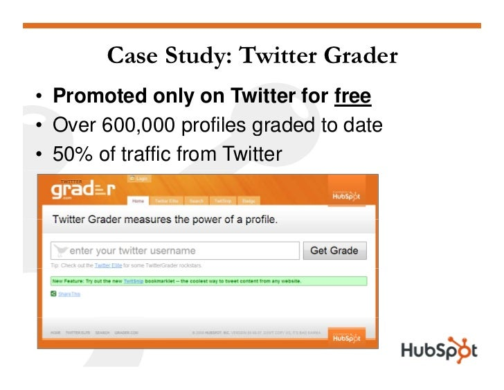 Case Study: Twitter Grader • Promoted only on Twitter for free • O er 600 000 profiles graded to date   Over 600,000 • 50%...