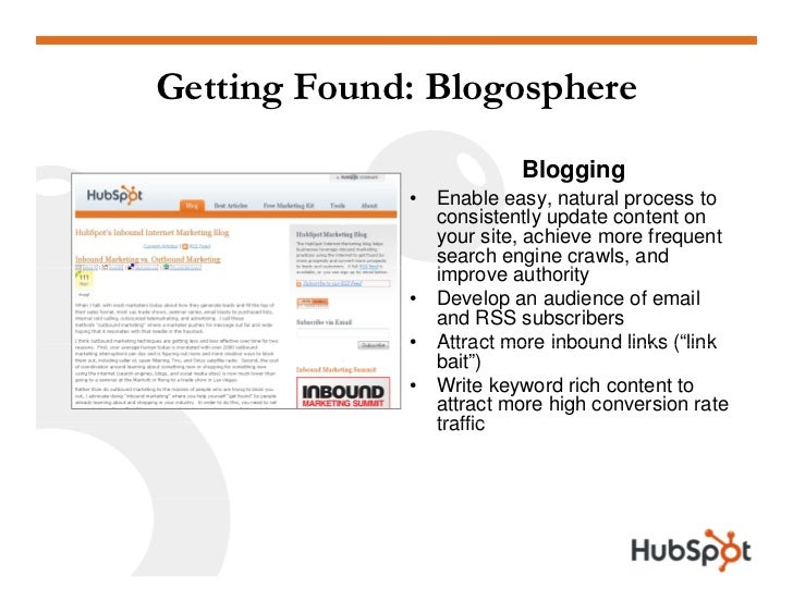 Getting Found: Blogosphere                           Blogging              •   Enable                  E bl easy, natural ...