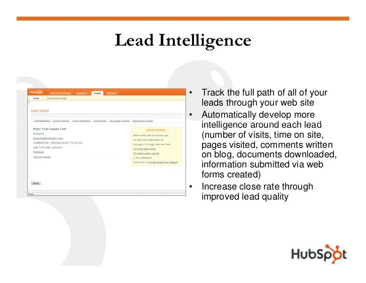 Lead Intelligence           •   Track the full path of all of your              leads through your web site          •   A...